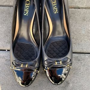 Chaps Black Slip On Size 7.5B Shoes w Bow